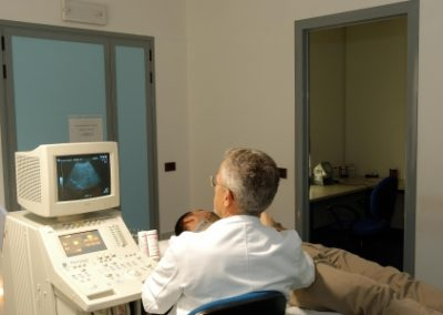 Paziente sottoposto ad esame ecografico